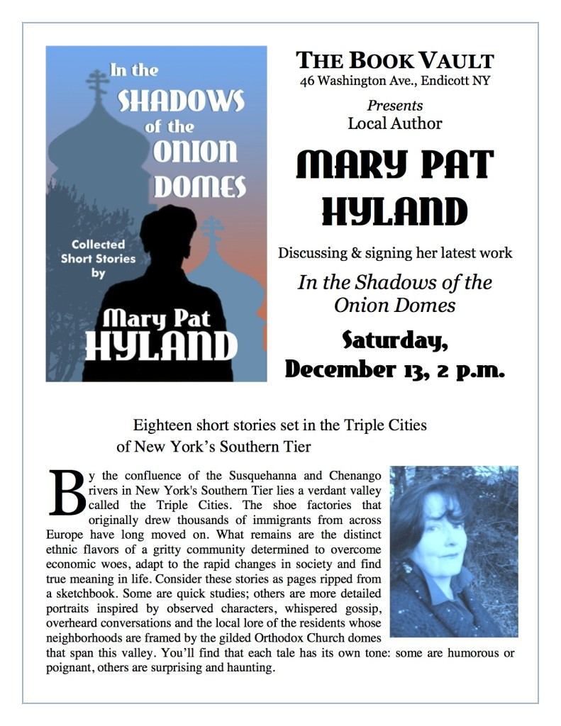 Flyer for Hyland Book Event at The Book Vault